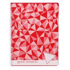 AUCHAN Cahier à spirale 24x32cm 180 pages grands carreaux Seyes rouge motif triangles