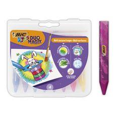 Crayons de couleur aquarellables DUO MAGIX (lot de 8 + 1 pinceau)