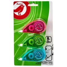 AUCHAN Lot de 3 souris correctrices 8m avec capuchon rose, vert et bleu