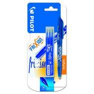 FriXion Ball bleu - Roller encre effaçable - pointe moyenne + 1 étui de 3 recharges bleu pointe moyenne