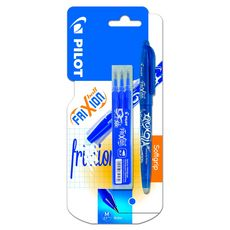 PILOT FriXion Ball bleu - Roller encre effaçable - pointe moyenne + 1 étui de 3 recharges bleu pointe moyenne