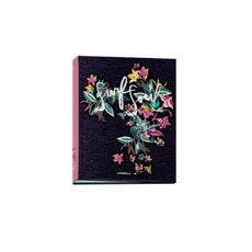 Classeur rigide A4 bleu et rose motif floral