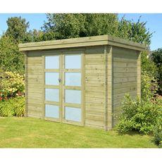 Abri jardin bois APETINA / toit plat / traité autoclave / 4.81m²