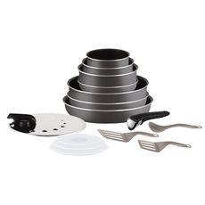 TEFAL Batterie de cuisine 15 pièces INGENIO MINUTE aluminium Gris