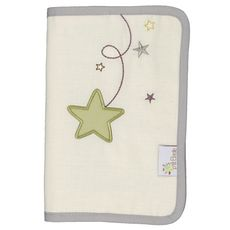 PTIT BASILE Protège carnet de santé bébé coton Bio - Pluie d'étoiles