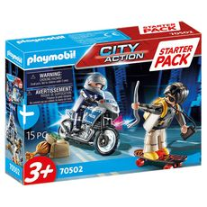 PLAYMOBIL 70502 - City Action - Starter Pack Motard de police et voleur