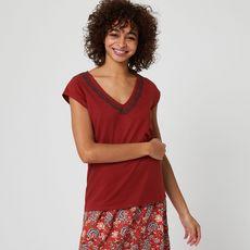 IN EXTENSO T-shirt manches courtes rouge femme (Rouge brique)