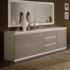 Buffet L220cm, 3 portes 3 tiroirs GENOVA, bicolore ( blanc-gris)