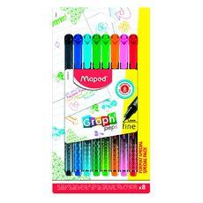 MAPED  Lot de 8 stylos feutres pointe fine 0.4mm Graph'peps
