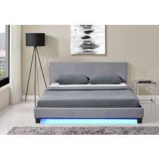 Lit LED avec tête de lit et sommier à lattes 160x200 cm MARTIN (Gris)