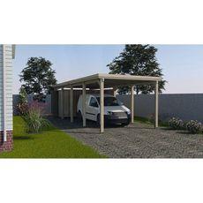 Carport bois 617 T3 toit en acier galvanise imprégné autoclave