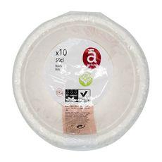 ACTUEL Bols en carton blanc compostables 50cl x10 10 pièces