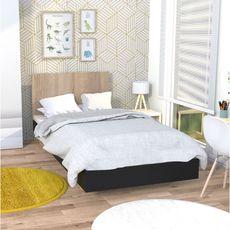 Lit 90x190cm avec tête de lit LAGOS (Noir/chêne blanchi)