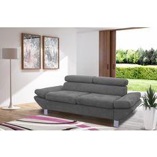 Canapé fixe 2 ou 3 places VERONA, tissu toucher doux, tétière et accoudoir réglables (Gris clair)