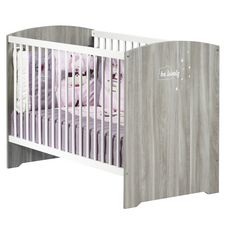 BABY PRICE Lit bébé 120x60 cm HAPPY, Chêne Silex, Sommier 3 positions