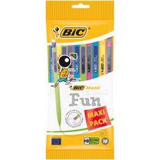 BIC Lot de 10 porte-mines 0,7 mm HB MATIC FUN jaune/rose/vert/bleu