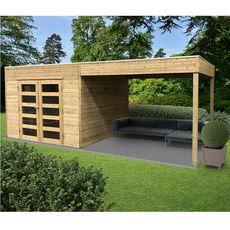 SOLID SUPERIA Abri de jardin en bois traité Tarento avec auvent - 8 m²