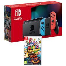 EXCLU WEB Console Nintendo Switch Joy-Con Bleu et Rouge + Super Mario 3D World + Bowser's Fury