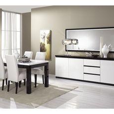 Buffet L220cm, 3 portes 3 tiroirs GENOVA, bicolore (noir-blanc)