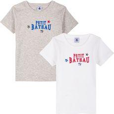 PETIT BATEAU Lot de 2 t-shirts manches courtes garçon (Blanc)