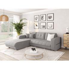 Canapé d'angle gauche convertible CLELIA, 4 places, tissu gris (Gris)