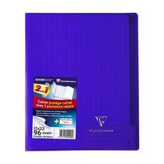 CLAIREFONTAINE Cahier piqué polypro Koverbook 17x22cm 96 pages grands carreaux Seyes violet transparent