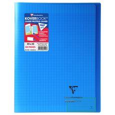 CLAIREFONTAINE Cahier piqué polypro Koverbook 24x32cm 48 pages grands carreaux bleu transparent