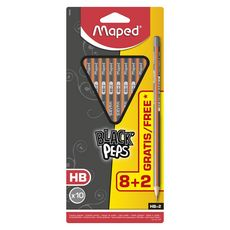 MAPED  Lot de 10 crayons graphite Black'Peps HB