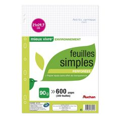 AUCHAN feuilles simples blanches perforees 210x297 600 pages 5x5 auchan