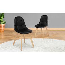 Lot de 2 chaises assise PU pieds bois massif CARLA (Noir)
