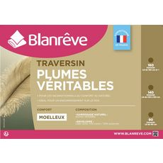 BLANREVE Traversin moelleux 100% plumes véritables NATUREL (Blanc + rayures)