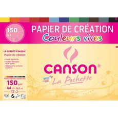 Pochette papier à dessin 12 feuilles A4 150g/m2 couleurs vives