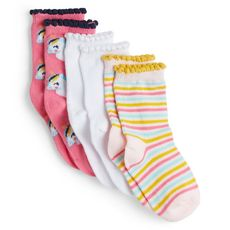 IN EXTENSO Lot de 3 paires de chaussettes bébé fille (Rose)