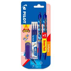 Lot de 2 stylos rollers Frixion ball clicker encre bleue + 3 recharges bleues + 1 gomme Edition Mika