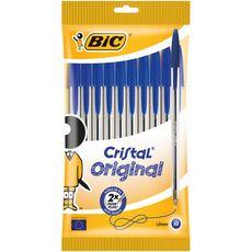 BIC Lot de 10 stylos bille pointe moyenne bleu CRISTAL ORIGINAL