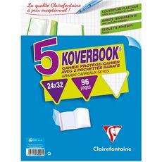 CLAIREFONTAINE Lot de 5 cahiers piqués polypro Koverbook 24x32cm 96 pages grands carreaux Seyes coloris assortis
