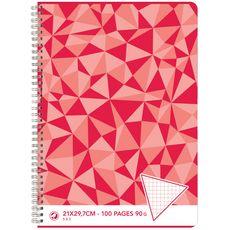 AUCHAN Cahier 21x29,7cm 100 pages petits carreaux 5x5 à spirale rouge motif triangles