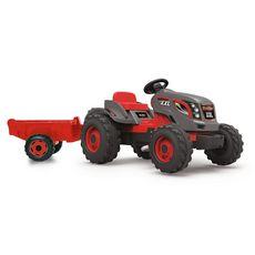 SMOBY Tracteur stronger gris/rouge XXL et sa remorque