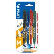 PILOT Lot de 4 stylos effaçables pointe moyenne vert/bleu/rouge/noir FriXion Ball