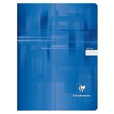 CLAIREFONTAINE Cahier piqué 24x32cm 48 pages grands carreaux Seyes bleu