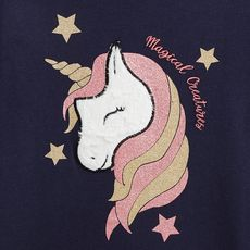 IN EXTENSO T-shirt manches longues licorne fille (Bleu marine )