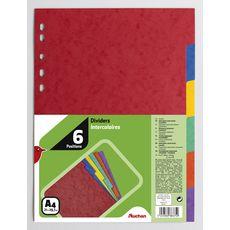AUCHAN Lot de 6 intercalaires A4  carte lustrée coloris assortis
