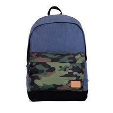 Sac à dos 1 compartiment + poche avant 24L Basic colorblock bleu et camouflage kak