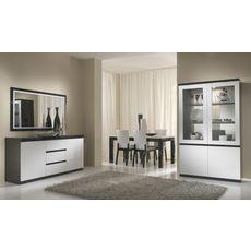 Buffet L165cm, 2 portes 3 tiroirs GENOVA, bicolore (noir-blanc)