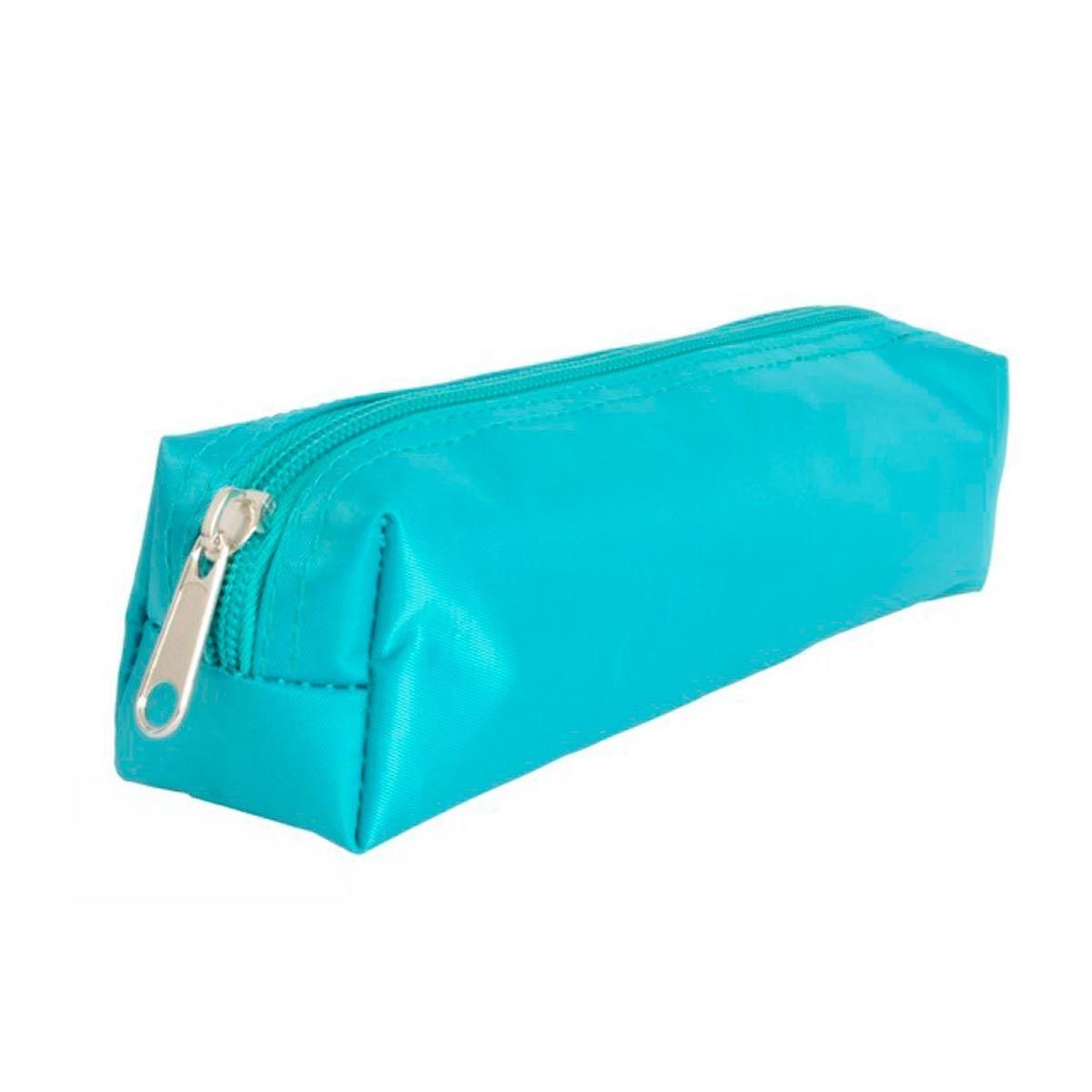 Trousse rectangulaire satin bleu