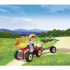 PLAYMOBIL Oeuf Enfant avec tracteur et remorque