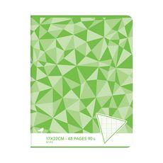 AUCHAN Cahier piqué 17x22cm 48 pages grands carreaux Seyes vert motif triangles
