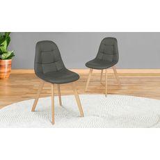 Lot de 2 chaises assise PU pieds bois massif CARLA (Gris)