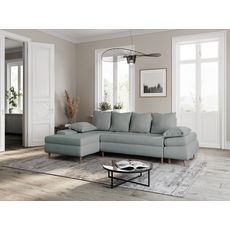 Canapé d'angle gauche convertible en tissu avec coffre 5 places NOA (Bleu celadon)