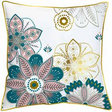 Coussin avec zip fantaisie en coton motif fleurs PIPING